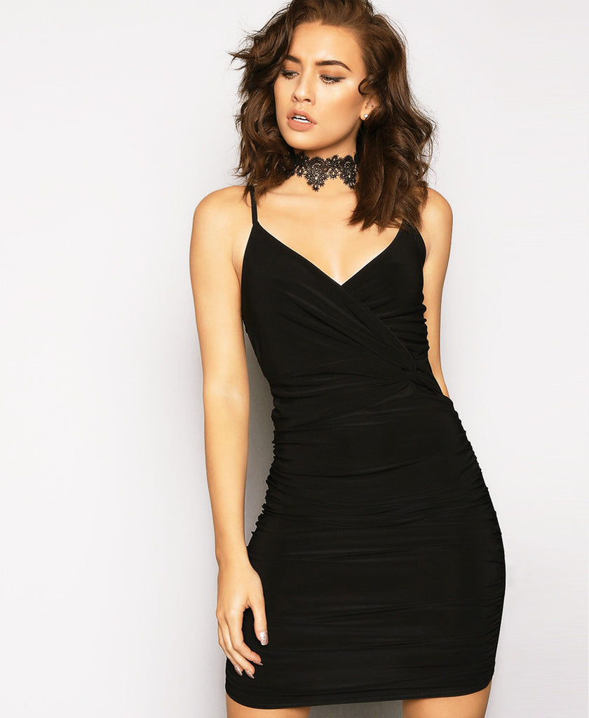 Bella London Black twist knot waist detail ruched dress with spaghetti straps. Close up front photo.