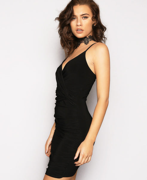 Bella London Black twist knot waist detail ruched dress with spaghetti straps. Close up side front photo.