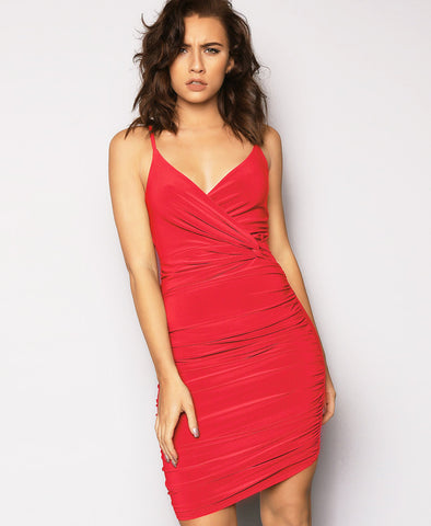 Bella London Red twist knot waist detail ruched dress with spaghetti straps. Close up front photo.