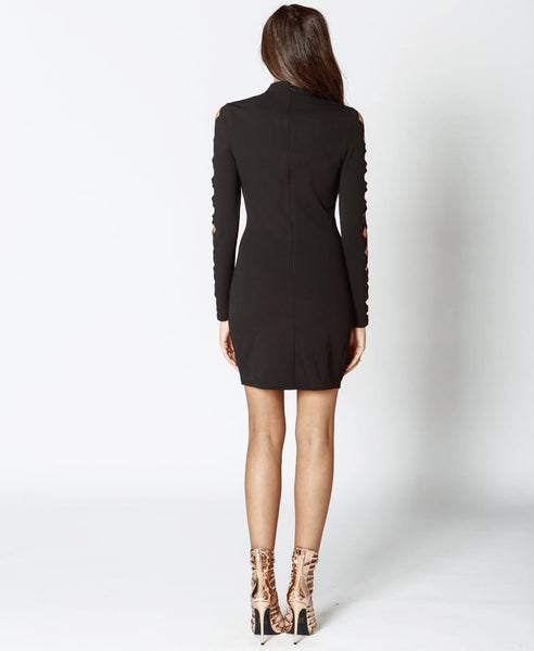 Bella London Issa Black Laser Cut Outs, Bodycon Dress With Long Sleeves And High Neck. Back View