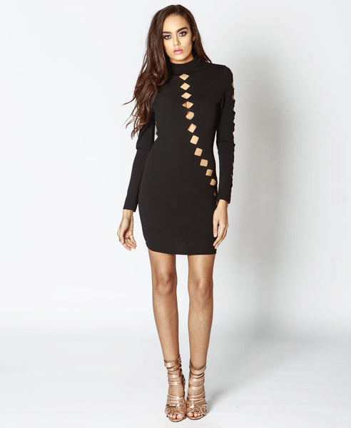 Bella London Issa Black Laser Cut Outs, Bodycon Dress With Long Sleeves And High Neck. Front View