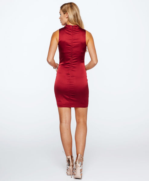 Bella London Ava wine choker satin dress. Back