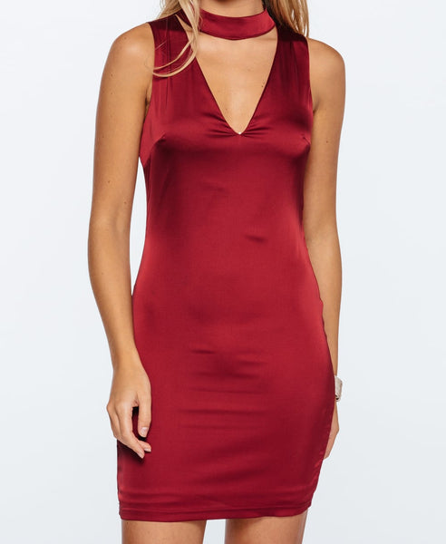 Bella London Ava wine choker satin dress. Front close up