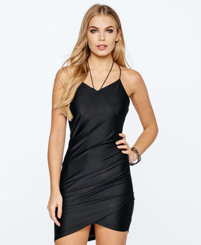Bella London Spaghetti straps black silky jersey slip dress with cross-over draped front. Close up front photo.