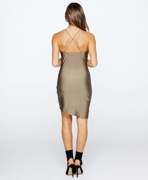 Bella London Layla Spaghetti Straps Khaki Silky Jersey Slip Wrap Drape Dress . Back View