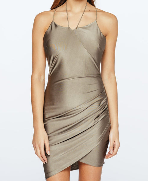 Bella London Layla Spaghetti Straps Khaki Silky Jersey Slip Wrap Drape Dress . Front View