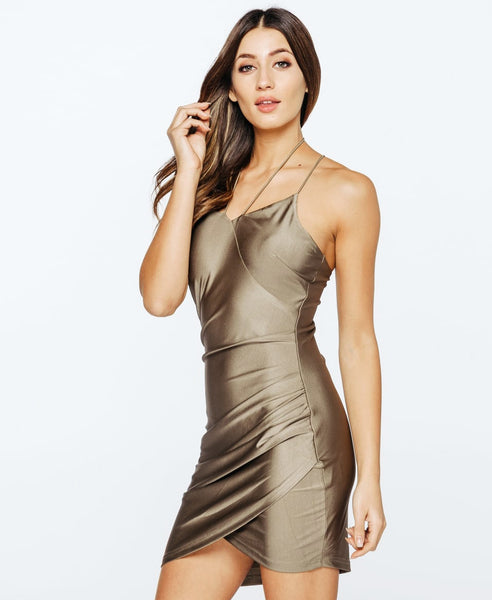 Bella London Layla Spaghetti Straps Khaki Silky Jersey Slip Wrap Drape Dress . Side Front View