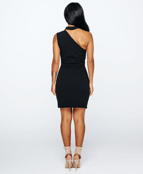 Bella London Black sleeveless one shoulder dress with choker collar and bodycon fit. Full length back photo.