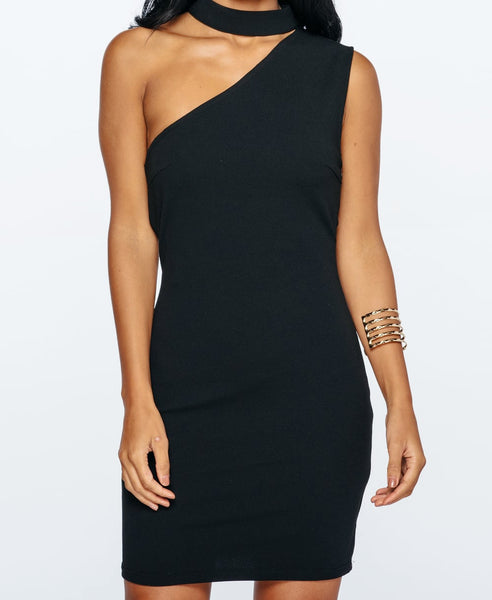 Bella London Black sleeveless one shoulder dress with choker collar and bodycon fit. Close up front photo.