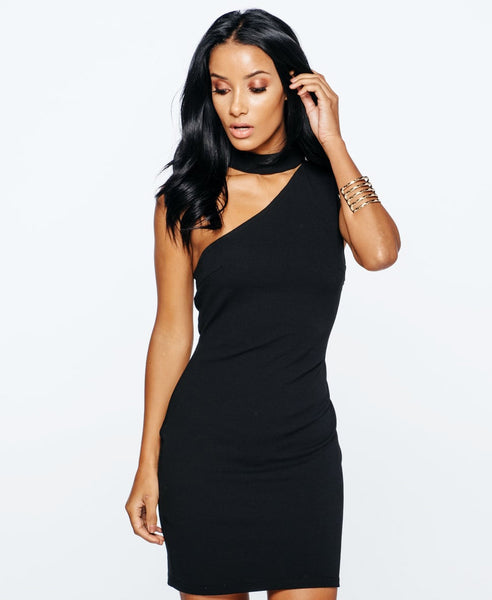 Black sleeveless one shoulder dress with choker collar and bodycon fit. Close up front photo.