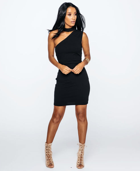 Bella London Black sleeveless one shoulder dress with choker collar and bodycon fit. Full length front photo.