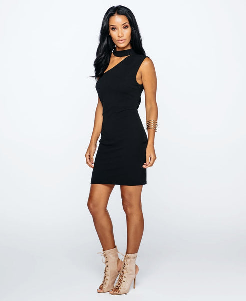 Bella London Black sleeveless one shoulder dress with choker collar and bodycon fit. Full length side front photo.