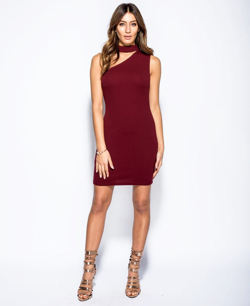Bella London Wine sleeveless one shoulder dress with choker collar and bodycon fit. Full length front photo.