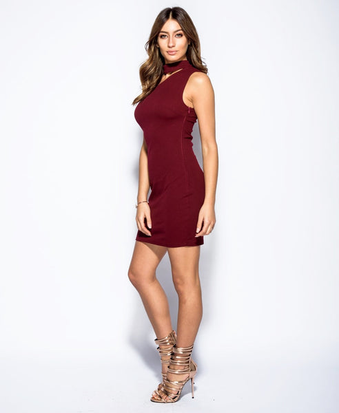 Bella London Wine sleeveless one shoulder dress with choker collar and bodycon fit. Full length side front photo.