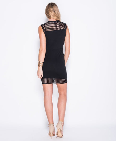 Bella London black bodycon dress with sheer fishnet deep V neck, cap sleeves and hem panel. Back full length up photo.