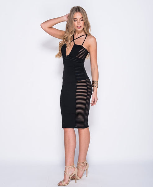 Bella London Cara black mesh panel bodycon multi strap dress. Front side full length photo