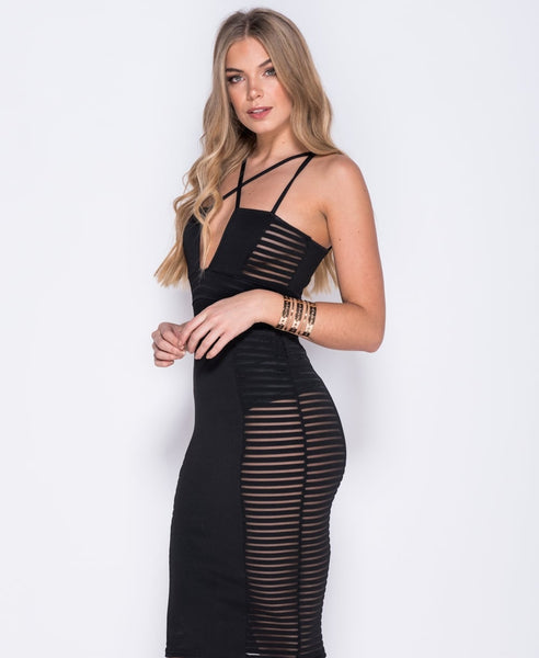 Bella London Cara black mesh panel bodycon multi strap dress. Front side close up photo