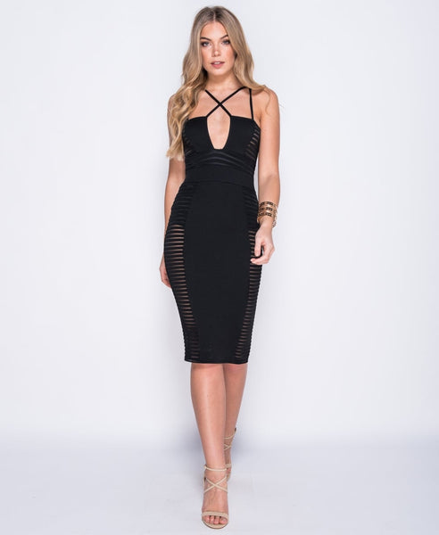 Bella London Cara black mesh panel bodycon multi strap dress. Front full length photo
