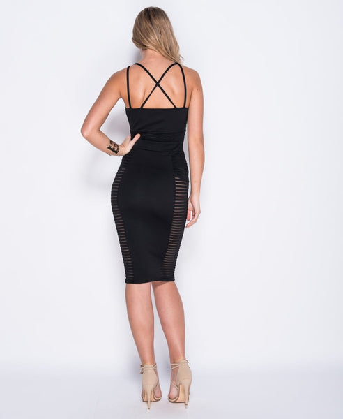 Bella London Cara black mesh panel bodycon multi strap dress. Back full length photo