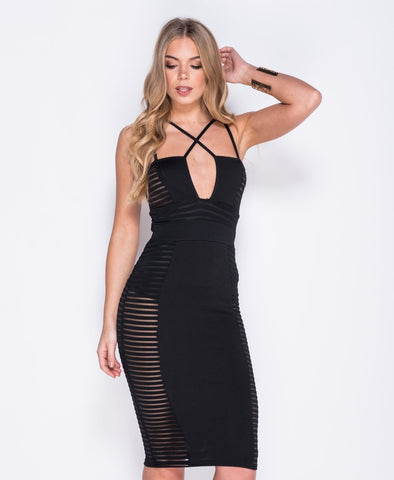 Bella London Cara black mesh panel bodycon multi strap dress. Front close up photo
