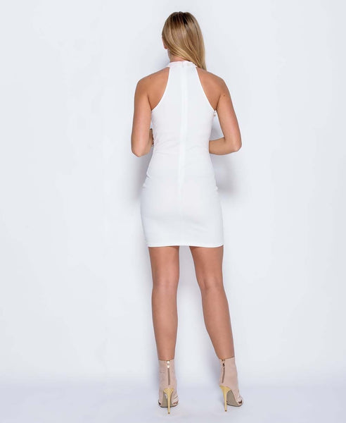 Bella London Leah White Lace high neck bodycon dress. Back Full Length View