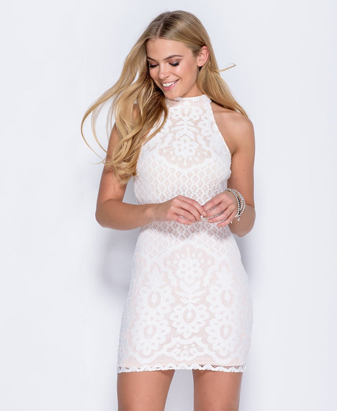 Bella London Leah White Lace high neck bodycon dress. Front View