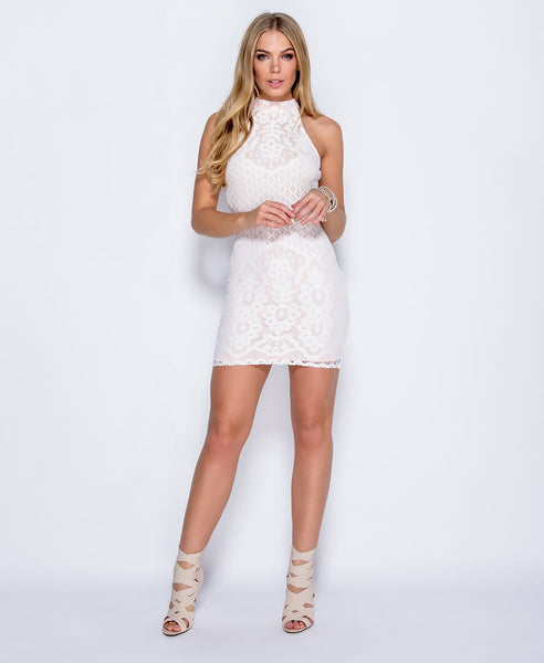 Bella London Leah White Lace high neck bodycon dress. Front Full Length View