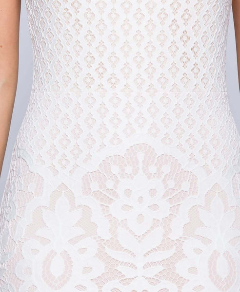 Bella London Leah White Lace high neck bodycon dress. Fabric Detail View