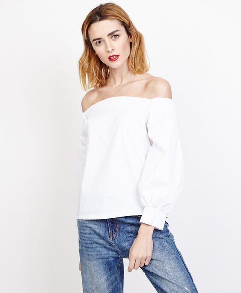 Bella London Saskia White Bardot Style Shirt Blouse, Front View