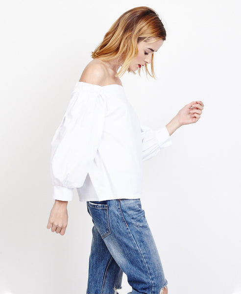 Bella London Saskia White Bardot Style Shirt Blouse, Side View