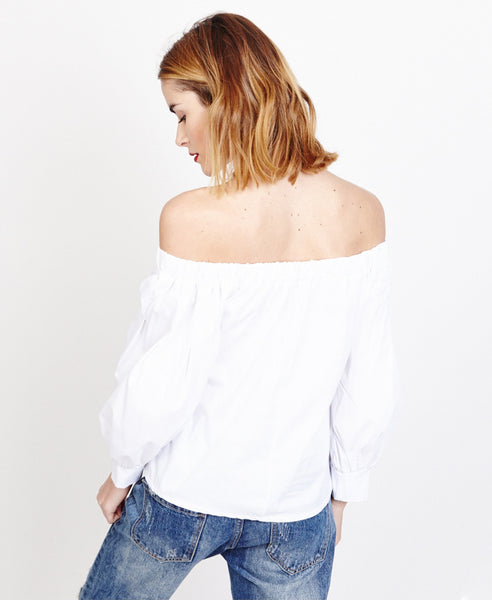 Bella London Saskia White Bardot Style Shirt Blouse, Back View