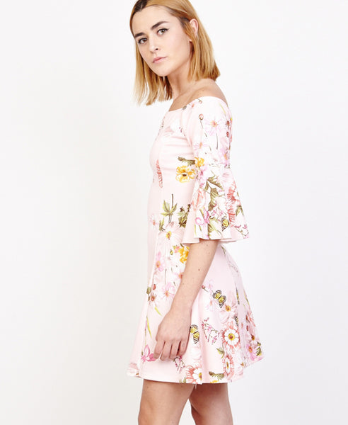 Bella London Jules Blush Floral Off The Shoulder Sakter Dress With Bell Sleeves. Side View