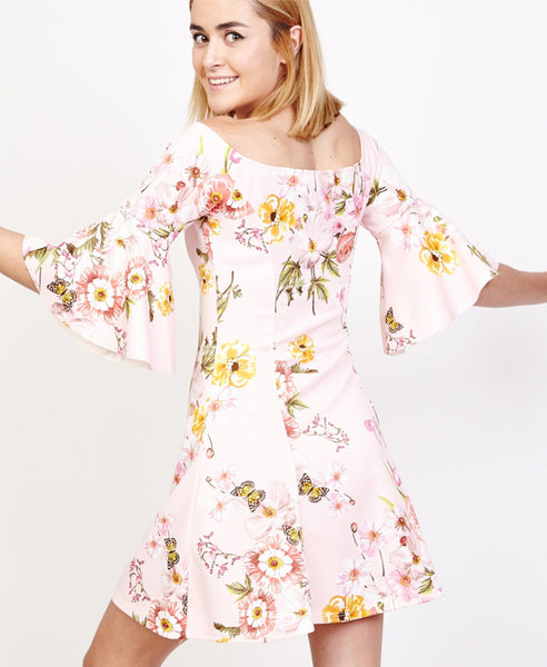 Bella London Jules Blush Floral Off The Shoulder Sakter Dress With Bell Sleeves. Back View