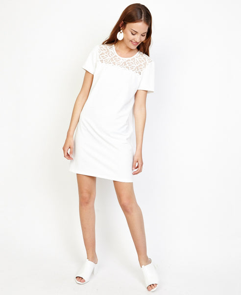 Bella London Angel White T-shirt Shift Dress With Lace And Pearls Detail. Front View