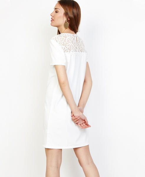 Bella London Angel White T-shirt Shift Dress With Lace And Pearls Detail. Back View
