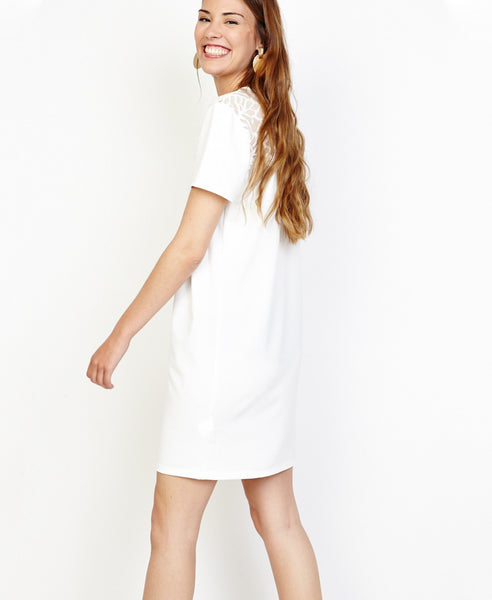 Bella London Angel White T-shirt Shift Dress With Lace And Pearls Detail. Side View