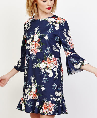 Bella London Willa Navy Floral Bell Sleeve Shift Dress With Ruffle Hem. Front View