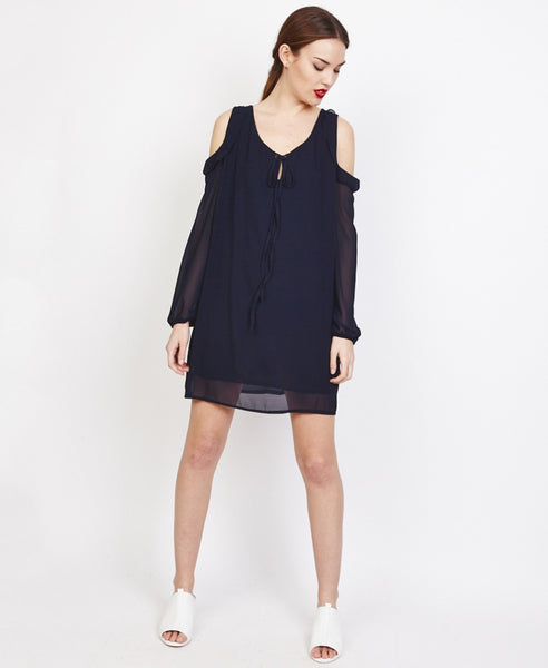 Bella London Farai Black Chiffon Cold Shoulder Shift Dress With Frill Detail, Front View