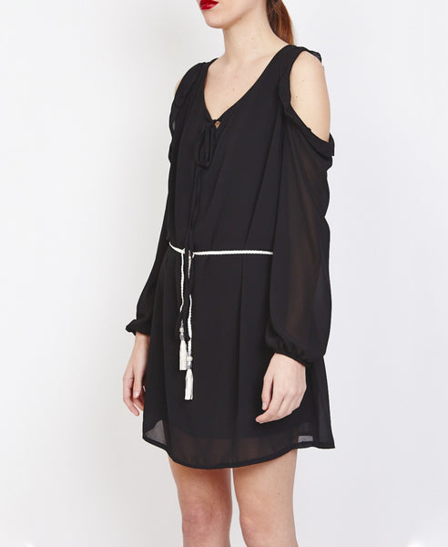 Bella London Farai Black Chiffon Cold Shoulder Shift Dress With Frill Detail, Side Front View