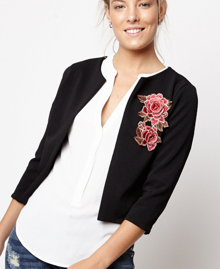 Bella London Danae Black Cropped Jacket With Embroidered Flower and 3/4 Sleeves. Front View