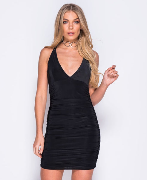 Bella London 'Gaia' Black Plunge Neckline Ruched Slip Dress With Cross Over Straps. Front View
