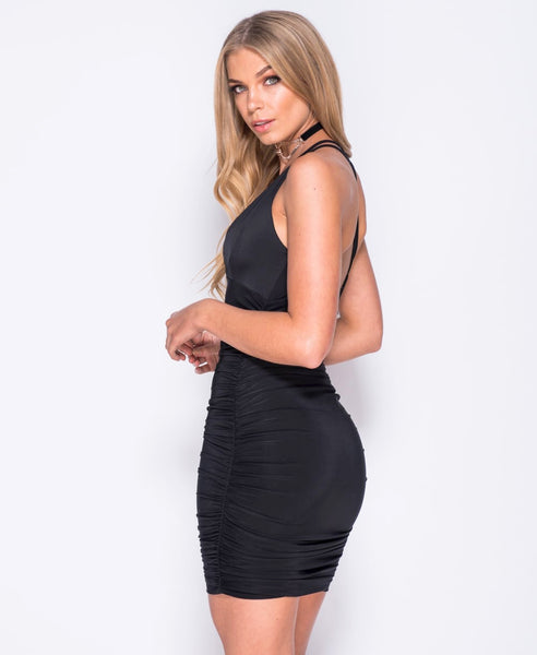 Bella London 'Gaia' Black Plunge Neckline Ruched Slip Dress With Cross Over Straps. Side Back View
