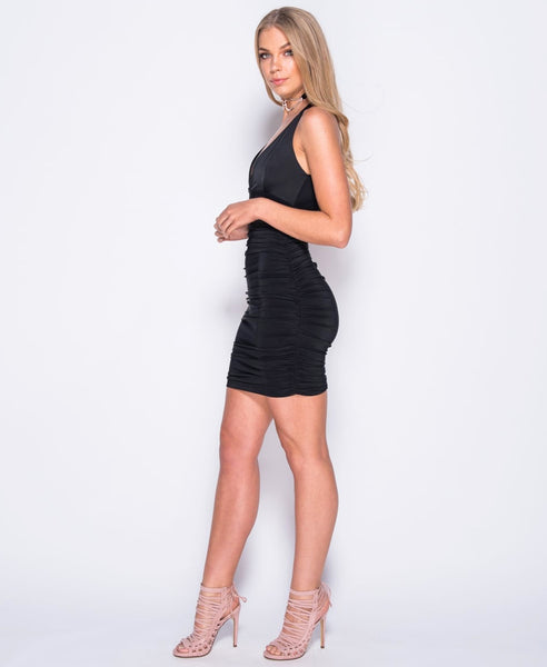 Bella London 'Gaia' Black Plunge Neckline Ruched Slip Dress With Cross Over Straps. Side View