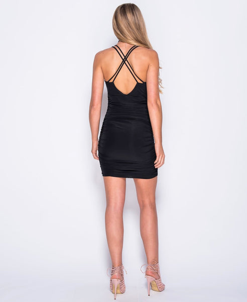 Bella London 'Gaia' Black Plunge Neckline Ruched Slip Dress With Cross Over Straps. Back View