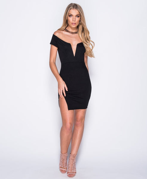 Bella London 'Samia' Black Bardot Off The Shoulders V Neck Dress With Thigh Split. Front View