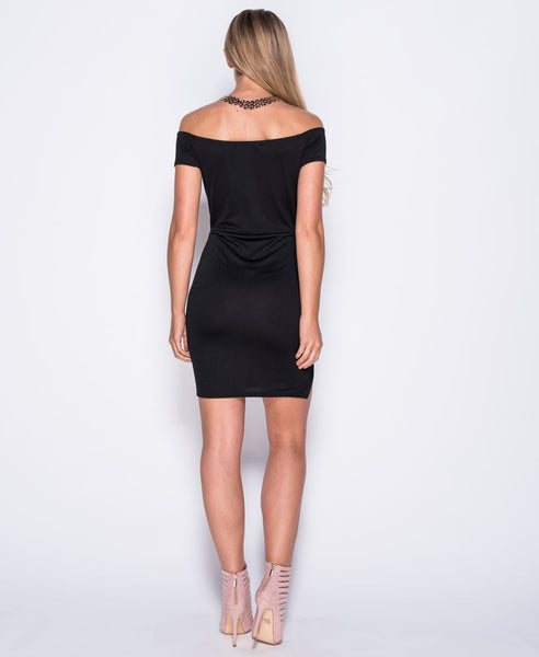 Bella London 'Samia' Black Bardot Off The Shoulders V Neck Dress With Thigh Split. Back View