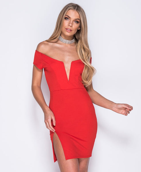 Bella London 'Samia' Red Bardot Off The Shoulders V Neck Dress With Thight Split. Front View