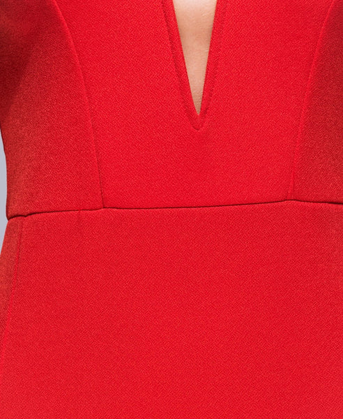 Bella London 'Samia' Red Bardot Off The Shoulders V Neck Dress With Thight Split. Detail Fabric View
