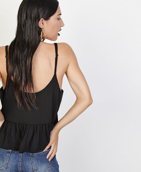 Bella London Bree Black Georgette Frill Hem Cami Top. Back View