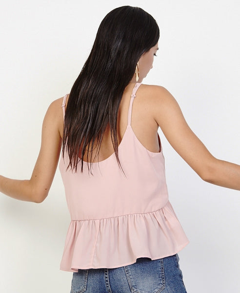 Bella London Bree Blush Georgette Frill Hem Cami Top. Back View
